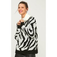 Women's Ladies black and white zebra cowl neck jumper boucle knit long sleeve rib trim