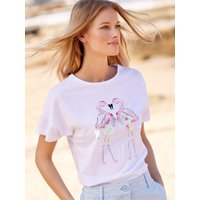 Womens Ladies white cotton flamingo print sequin t-shirt short sleeve crew neck casual