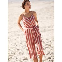 Women's Ladies striped culotte linen jumpsuit