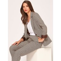 Women's Ladies heritage check blazer jacket single breasted turn up sleeves