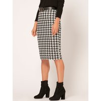 Womens Ladies houndstooth pencil skirt stretch waist jersey calf length