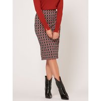 Womens Ladies jacquard geometric pencil skirt stretch waist midi length