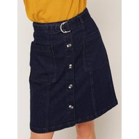 Womens Ladies utility belted denim mini skirt