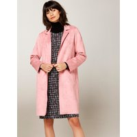Womens Ladies pink faux suede coat with long sleeves collar side pockets