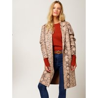 Womens Ladies snake print faux suede coat