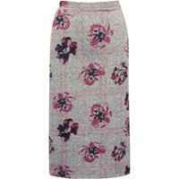 Womens Ladies Spirit floral print pencil skirt soft jersey high wasit midi length