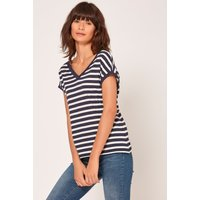 Women's Ladies navy and white stripe t-shirt relaxed fit v back cotton jersey blend