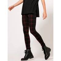 Women's Ladies black with red check leggings high waist turn up stretch waist