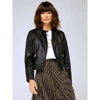 'Women's Ladies Faux Leather Collarless Biker Jacket Asymmetric Zip Pockets Quilted Cuffs