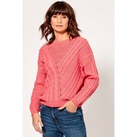 Women's Ladies cable knit jumper long sleeve pointelle v shape front crew neck