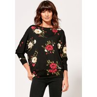 Womens Ladies floral print batwing sleeve top