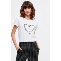 Women's Ladies white heart love slogan t-shirt short sleeve crew neck 100% cotton relaxed fit
