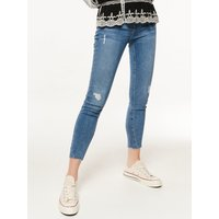 Women's Ladies mid wash rip and repair skinny