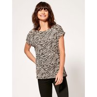Women's Ladies black camel tiger print t-shirt with crew neck short rolled sleeves slim fit