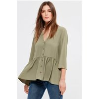 Women's Ladies khaki peplum tunic top