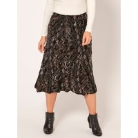 Womens Ladies Spirit snake print midi skirt elasticated waist fit and flare flocked texture