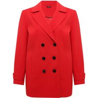 Ladies Plus Red Long Sleeve Classic Double Breasted Front Pocket button detail pea coat  - Red