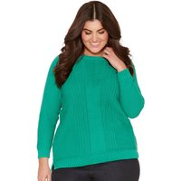 Ladies Plus Long Sleeve Plain Bright Green Textured Ribbed Cable Knit Scoop Neck Casual Jumper  - Ja