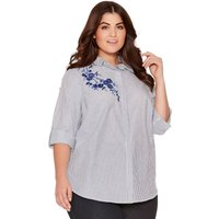 Ladies plus size three quarter turn up sleeve floral embroidered stripe shirt  - Blue