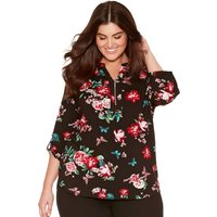 Women's Ladies Plus size Tabbed three quarter length sleeve notch neck floral print zip front shirt
