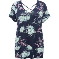 Women's Ladies Plus size stretch jersey Short sleeve V neck floral print lattice cross front top