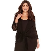 Women's Ladies plus size three quarter length sleeve textured popcorn knit tie front cover up shrug