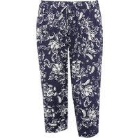 Plus size ladies floral print cropped length elasticated waist trousers  - Navy