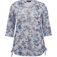 Ladies Plus size cotton stretch three quarter length sleeve scoop neck floral print tie side top  -