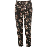 Ladies plus size floral print high waisted relaxed fit stretch jersey trousers  - Black