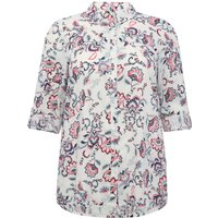 Women's Ladies Plus size cotton Tabbed three quarter length sleeve floral print shirt