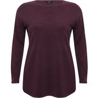 Ladies Plus size ribbed knit crew neck long sleeve jumper  - Purple