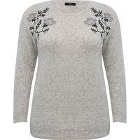 Women's Plus grey marl long sleeve floral embroidered fine knit crew neck casual jumper