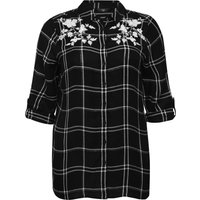 Ladies Plus size Tabbed three quarter length sleeve floral embroidered check shirt  - Black