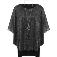 Ladies Plus size Batwing half sleeve shimmer necklace top  - Silver Grey