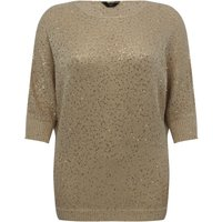 Ladies plus size three quarter length sleeve sequin embellished batwing jumper  - Gold