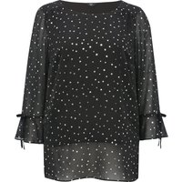 Ladies Plus size Three quarter length tie sleeves sheer silver foil shimmer star top  - Black