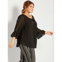Ladies plus size evening top with three quarter length frill sleeves scoop neckline metallic stripe  - Black