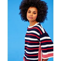 Khost Clothing Striped Jumper Batwing Sleeve Knitted Slash Neck - Multicolour
