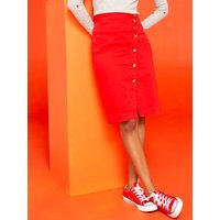Khost Clothing button front denim pencil skirt coloured high waist  - Red