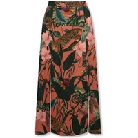 Women's Sonder Studio ladies jungle animal midi skirt high elasticated waist double split front