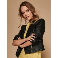 'Ladies Quilted Faux Leather Jacket  - Black