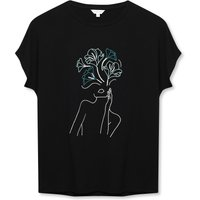 Women's Sonder Studio ladies floral face embroidered t-shirt
