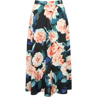 Women's Ladies boutique multi coloured zip fasten floral printed party sateen skirt