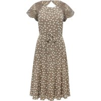 Women's Ladies boutique collection polka dot print lace sleeves tie waist fit and flare dress