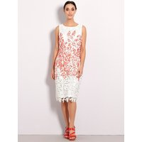 Womens Boutique ladies floral lace shift dress sleeveless white and coral knee length