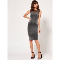 Womens Ladies Boutique metallic pencil shutter dress