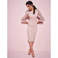 Ladies lace pencil dress  - Blush
