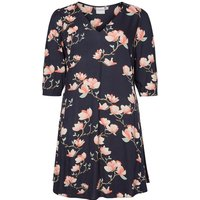 Junarose Ladies Plus Size Navy Viscose Three Quarter Length Sleeve Peach Floral Print Swing Dress - Navy