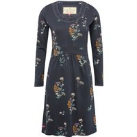 Brakeburn Ladies Cotton Blend Grey Long Sleeve Crochet Lace Neck Fit And Flare Floral Print Dress - Slate Grey