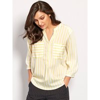 Women's Vero Moda ladies striped shirt three quarter length sleeves half button front notch neck